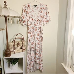 Forever 21 floral wrap high low dress size large